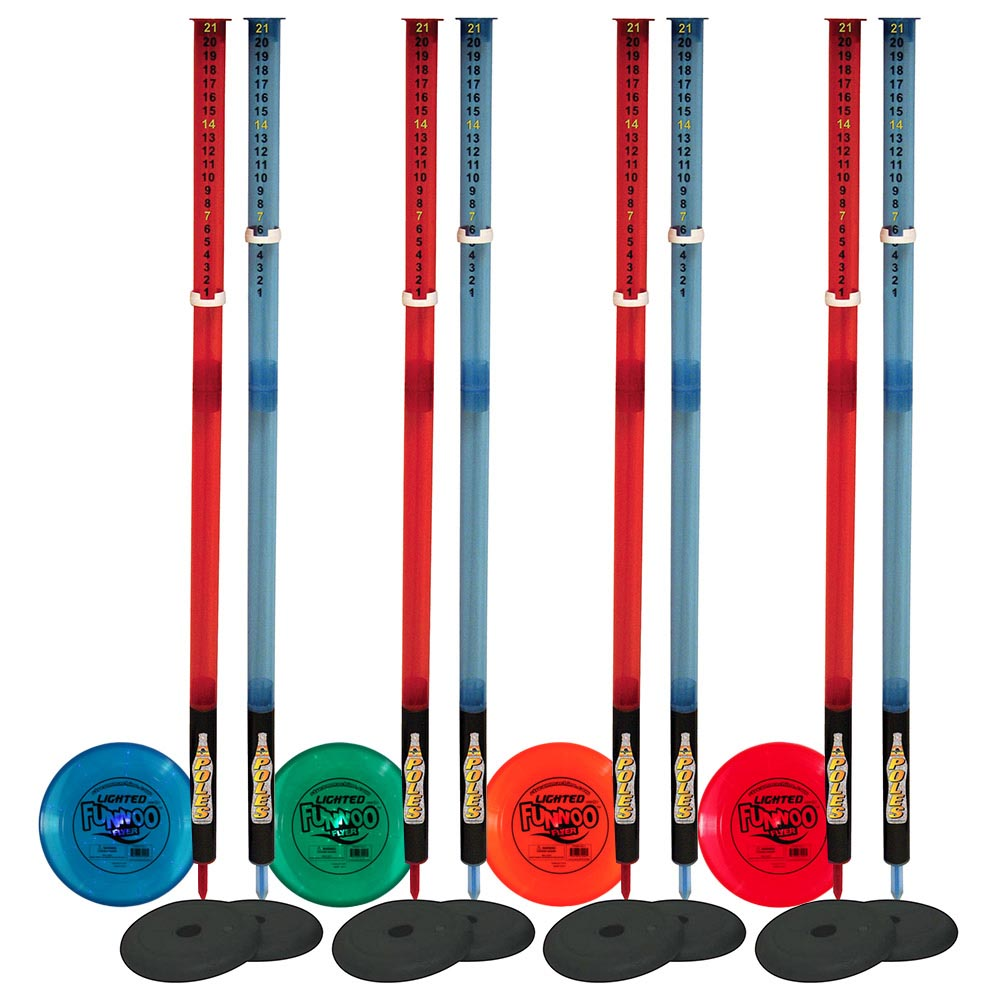 4 Pack Bundle of Lighted Deluxe Poles Game w/ Lighted Flying Disc and Lighted Poles, Water Sports 81071-7